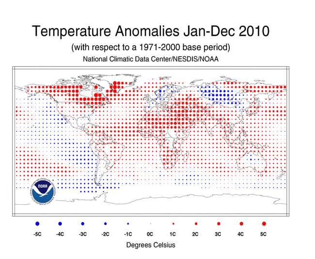 Écarts de température de surface (terres et océans) pour l'année 2010 par rapport à la moyenne de la période 1971-2000. On remarque le froid en Europe et en Russie et la chaleur au Canada. © NOAA