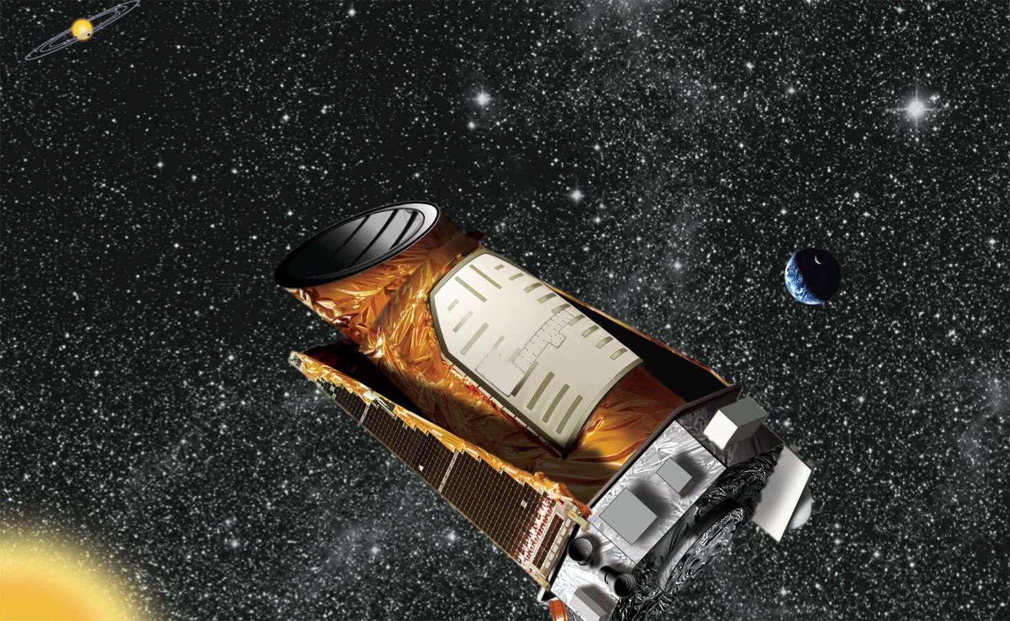 Représentation d'artiste du télescope Kepler. La centaine de milliers de courbes de lumière qu'il a collectée révélera peut-être de nouvelles exoplanètes grâce à la méthode utilisant l'algorithme Beer. © Wendy Stenzel, Nasa