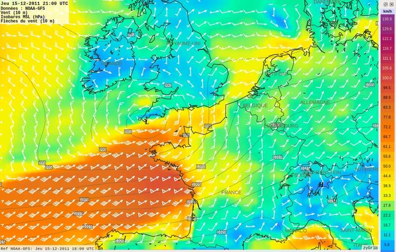Les prévisionnistes météo peuvent estimer le temps qu'il fera dans un avenir proche en différents points grâce à une carte des vents ou des pressions atmosphériques. © Solsticedhiver, Wikipédia, CC by-sa 3.0
