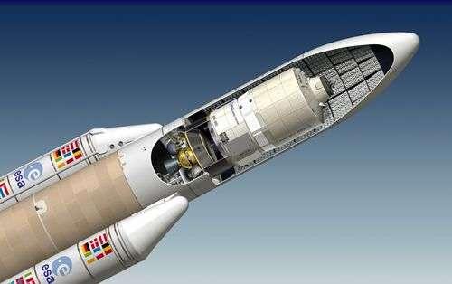 L'ATV sous la coiffe d'Ariane 5. Crédit Arianespace