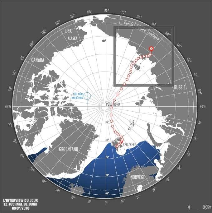 Le parcours de Jean-Louis Etienne dans son ballon, du Spitzberg à la Sibérie. © Jean-Louis Etienne / Expédition Generali Arctic Observer