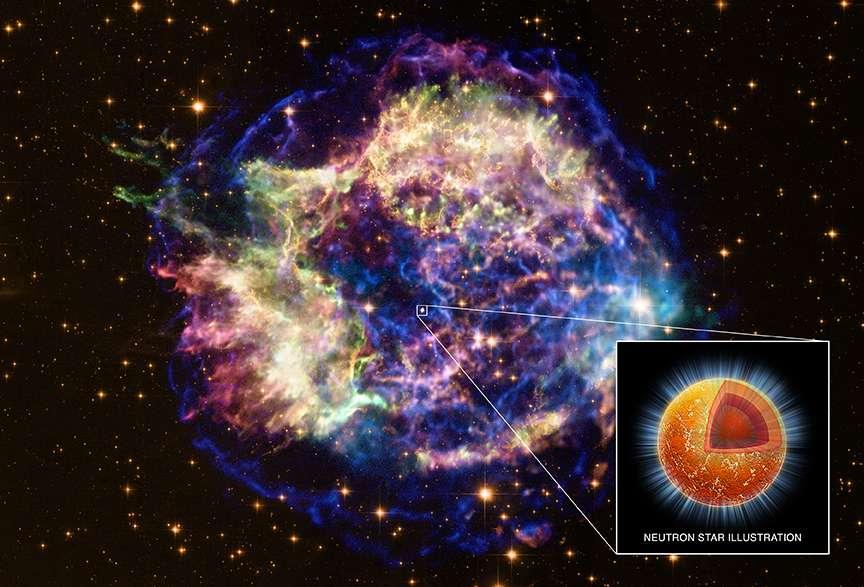 Un montage des images de Cassiopée A avec l'emplacement de son étoile à neutrons. © Rayons X : Nasa/CXC/UNAM/Ioffe/D.Page, P.Shternin et al.; Visible : Nasa/STSc