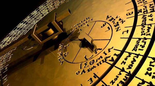 Détail du cadran (sur le modèle virtuel), montrant les glyphes décryptés par l'équipe. © Antikythera Mechanism Research Project