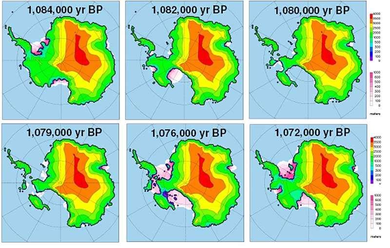 Douze mille ans d'évolution des glaces de la partie occidentale de l'Antarctide (en rose) il y a un million d'années. Source : David Pollard/Robert DeConto / Nature