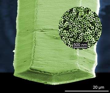 Vue d'ensemble du microlevier nanostructuré par des nanotubes alignés de dioxyde de titane. La fixation de molécule de TNT sur ces tubes modifie la fréquence de résonance du dispositif, trahissant ainsi leur présence. © Fabien Schnell, NS3E
