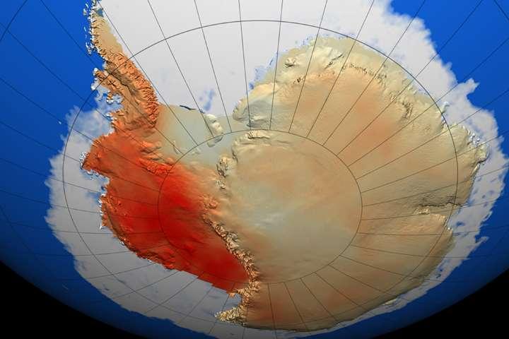 Évolution des températures moyennes annuelles de l'Antarctique, en degrés Celsius par décennie, entre 1957 et 2006 (Earth Observatory, Nasa). On savait déjà que la partie ouest subit une augmentation des températures plus importante que le reste du continent. © Trent Schindler, NASA Goddard Space Flight Center Scientific Visualization Studio