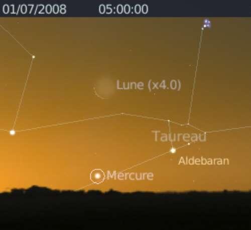 Elongation maximale de Mercure et rapprochement avec la Lune