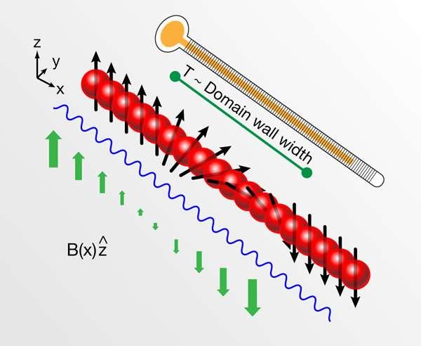 On mesure la température des atomes ultra-froids en déterminant la longueur nécessaire pour observer un basculement des aimants atomiques. On parle d'un gradient de spin, représenté ici en rouge avec une flèche pour indiquer le sens de l'aimant. Le champ magnétique B est représenté en vert. Crédit : Alan Stonebraker