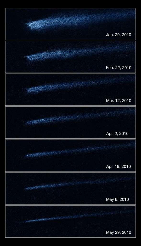 Observée sur plusieurs mois par le télescope Hubble, la queue de débris de P/2010 A2 se modifie lentement sous l'action du vent solaire. © Nasa/Esa/D. Jewitt (UCLA)