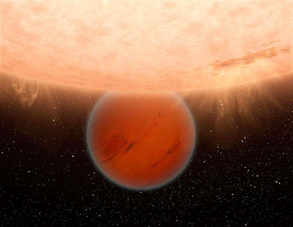 Une vue d'artiste de GJ 436b. Crédit : Nasa / JPL-Caltech / R. Hurt (SSC/Caltech)
