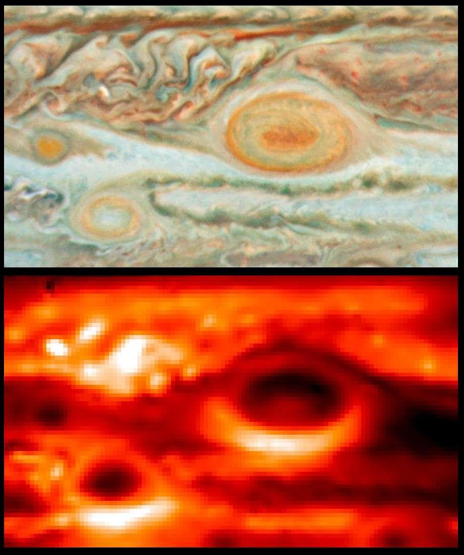 L'image du haut montre la Grande Tache Rouge et ses environs photographiés dans le visible par le télescope Hubble en mai 2008. En bas l'image réalisée au VLT avec Visir à la même époque. Crédit ESO/Nasa/JPL/Esa/L. Fletcher