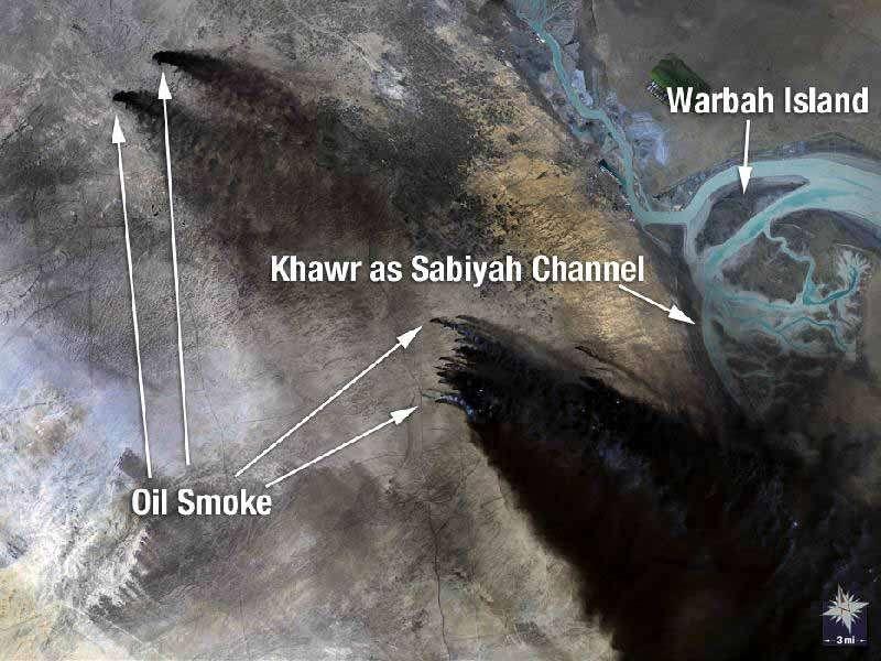 Puits de pétrole en feu au Koweït. Crédit Nasa/USGS