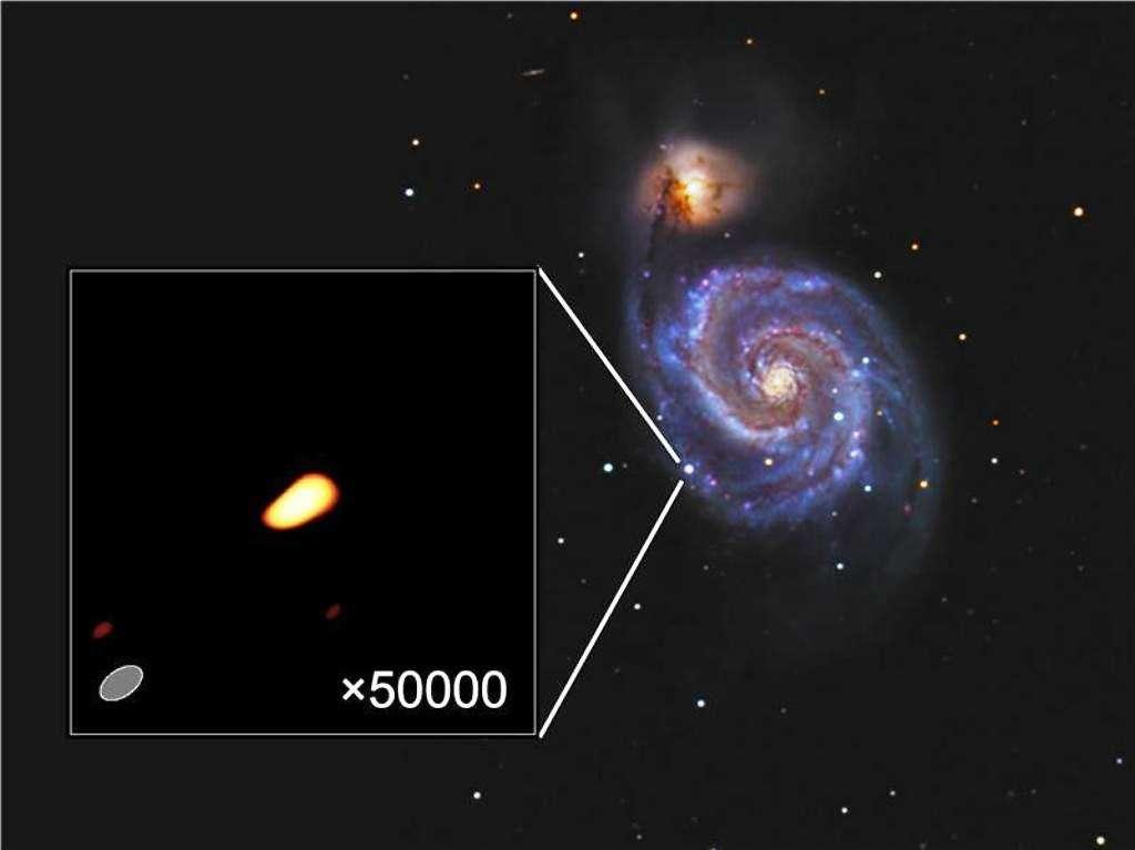 La galaxie du Tourbillon observée en juin 2011 avec la supernova SN2011dh dans le visible sur l'image de droite et son apparence avec le radiotélescope VLBI à gauche. © Image visible : Rod Pommier 2011, Pommier Observatory, Portland, Oregon, États-Unis. Image radio : I. Martí-Vidal and colleagues,