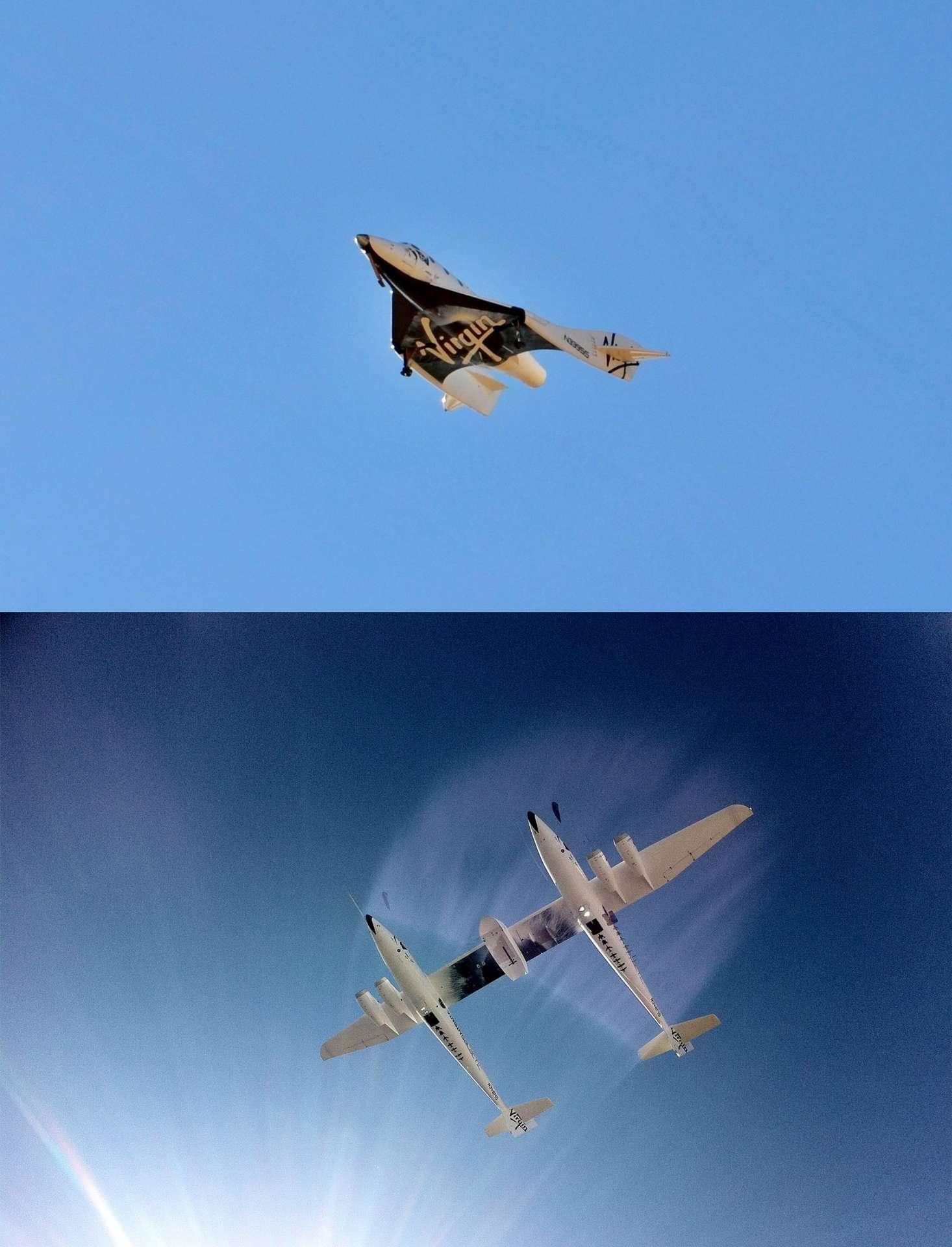Le système de transport de Virgin Galactic constitué de l'avion porteur WhiteKnightTwo et du SpaceShipTwo (en haut), lors d'essais en vol en début d'année. Le premier vol commercial est annoncé avant la fin de l'année. © Virgin Galactic