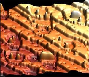 Cette image montre une surface de 28 par 28 nm sur laquelle a été réalisée l'expérience, composée de couches étagées de cuivre et de nitrure de cuivre où on est venu placer des structures d'atomes de manganèse: les surfaces plates correspondent au cuivre,