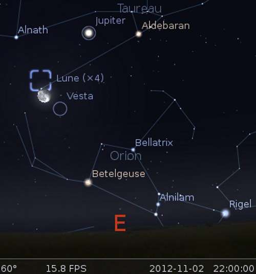 La Lune en rapprochement avec Vesta et la nébuleuse du Crabe
