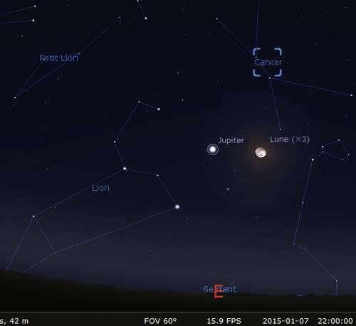 La Lune, ce soir, permet de trouver Jupiter. © Futura-Sciences