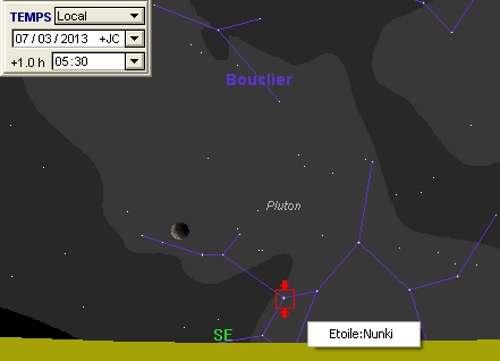 La Lune en rapprochement avec Pluton et Nunki
