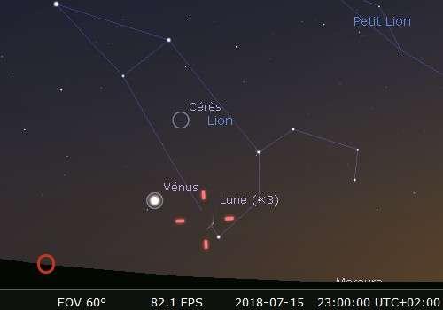 La Lune en rapprochement avec Régulus et Vénus