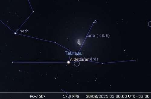 La Lune en rapprochement avec les Pléiades, Aldébaran et Cérès
