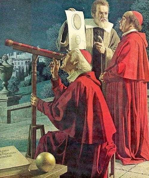 Galilée expliquant ses découvertes à deux cardinaux. Peinture de Jean-Léon Huens