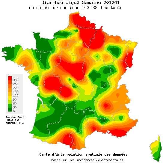 La gastroentérite arrive peu à peu en France. Certaines régions sont pour l'instant épargnées, mais la mauvaise saison ne fait que commencer... © Réseau Sentinelles