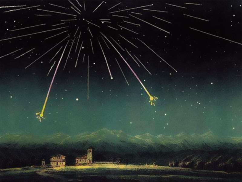 L'essaim de météores des Andromédides, absent depuis plus d'un siècle, excepté pour une apparition discrète en 2011, pourrait être de retour avec un pic d'activité dans la nuit du 5 au 6 décembre 2018. C'est en réalité une célébrité oubliée du XIXe siècle : elle avait fait pleuvoir des étoiles dans le ciel nocturne du 27 novembre 1872, comme brillamment dépeint ici, au-dessus de la France, par Amédéé Guillemin. © Amédéé Guillemin