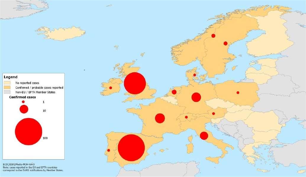 Carte de l'épidémie en Europe au 12 mai 2009. En jaune pâle, les pays où aucun cas n'est signalé. En jaune-orangé ceux où des cas probables ou confirmés sont observés. En gris, les pays non membres de l'ECDC. Les ronds rouges donnent une indication du nombre de cas confirmés, avec trois seuils, 1, 10 et 100. © ECDC
