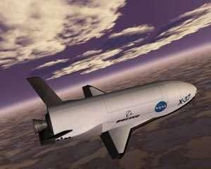 Le X-37 de la NASA, aujourd'hui abandonné, fut le premier projet de Military Space Plane. crédit NASA.
