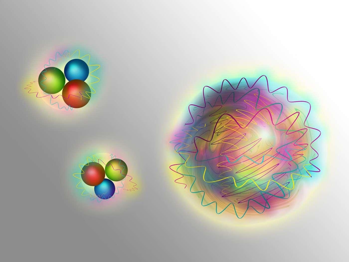 Les baryons sont composés de trois quarks (les boules colorées sur cette image d'artiste) liés par des cousins des photons décrivant la force nucléaire forte entre quarks, les gluons (représentés par des courbes ondulées). Mais ces gluons s'attirent aussi les uns les autres par cette même force, de sorte que l'on peut imaginer des particules faites uniquement de gluons : des boules de glu encore appelées glueballs en anglais. © TU Wien
