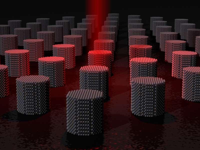 Le support de stockage offre une densité de 10 Go/mm². Les données sont écrites en utilisant un laser qui va chauffer le matériau très rapidement pour obtenir un débit de 200 Go/s. © Richard Evans, université de York