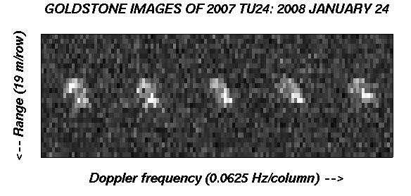 Images radar de 2007 TU 24. Un pixel correspond à une résolution de 20 mètres. Crédit : JPL Nasa