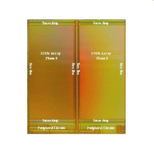 Une puce de mémoire Flash X4, composée de deux réseaux de cellules stockant 32 gigabits (Gb) chacun. Il faut lui adjoindre un contrôleur. © Sandisk