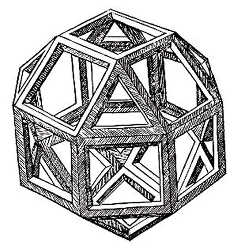 Un rhombicuboctaèdre, dessiné par Léonard. (Licence Commons)