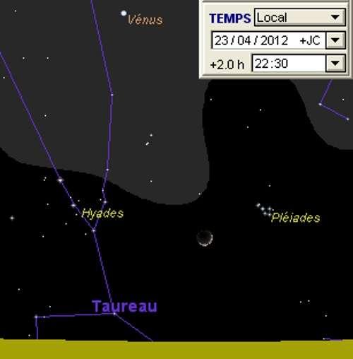 La Lune en rapprochement avec l'amas des Pléiades
