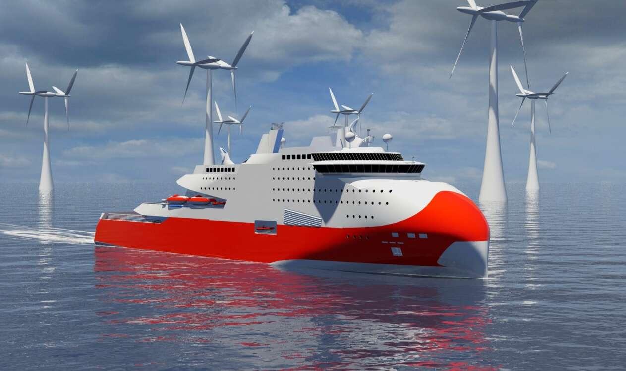 Un projet de ferry à motorisation GNL (gaz naturel liquéfié). Les chantiers STX ont reçu une commande pour un bâtiment de ce genre qui sera exploité par la compagnie Brittany Ferries. La recherche pour des navires moins gourmands en énergie et émettant moins de CO2 est aujourd'hui très active. © STX