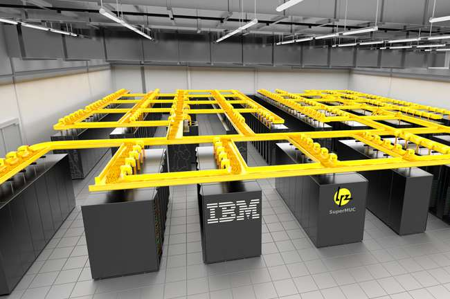 Avec son système de refroidissement par eau et des processeurs moins énergivores, la consommation électrique est réduite de 40 % par rapport à un supercalculateur par air. SuperMuc est également 10 fois plus compact. Cette technologie avait déjà été testée par IBM dès 2010 sur le prototype Aquasar qui se trouve à l'Institut polytechnique fédéral de Zurich en Suisse. Plus petit, sa puissance est limitée à 6 téraflops. © IBM Research