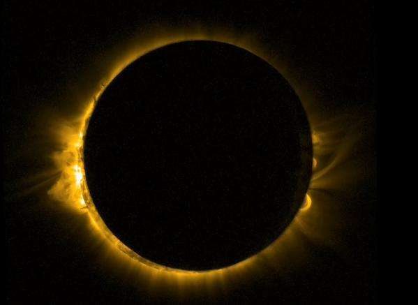 L'éclipse du vendredi 20 mars n'est pour rien dans le marnage de 119 du samedi 21 mars mais les deux événements liés au croisement par la Lune de l'axe Terre-Soleil. © Esa