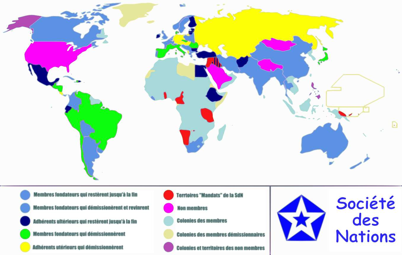 Représentation des pays lors de la création de la SDN. Les États-Unis n'en font pas partie. © Allard Postman, Wikimedia Commons, cc by sa 3.0