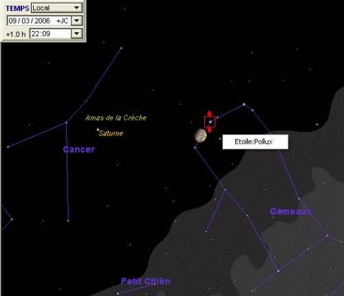 La lune passe à proximité de l'étoile Pollux, et la planète Saturne passe à proximité de l'amas de la Crèche (M44)