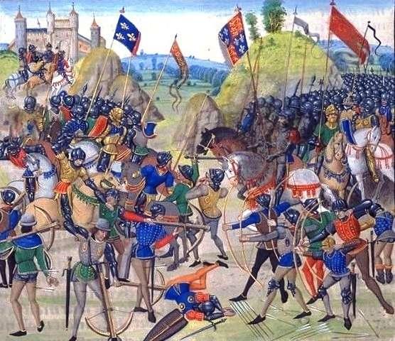 Les troupes anglaises et françaises à la bataille de Crécy, qui a eu lieu pendant la guerre de Cent Ans, la plus longue des guerres du Moyen Âge. © Wikimedia Commons, DP