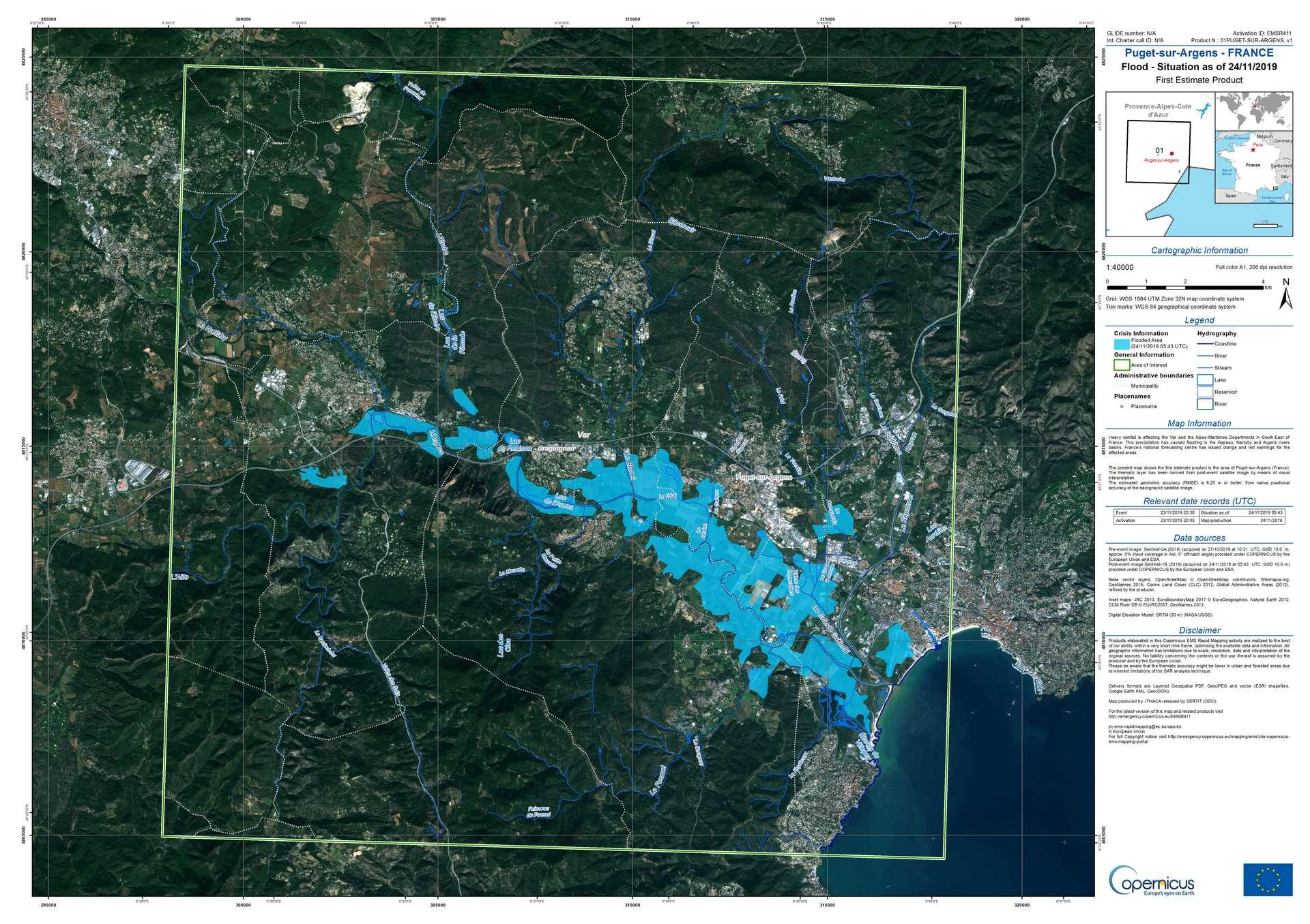 La carte des zones inondées le 24 novembre 2019. Les communes situées le long de l'Argens ont été particulièrement touchées. © Copernicus, ESA