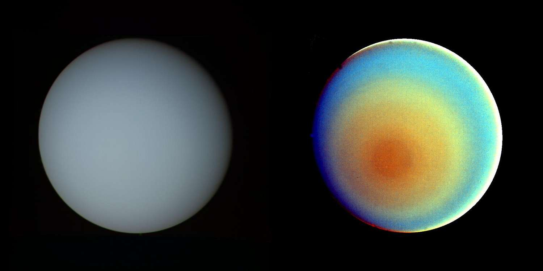 Uranus photographiée par la sonde Voyager 2 le 17 janvier 1986. L'image de droite est en fausses couleurs. © Nasa/JPL