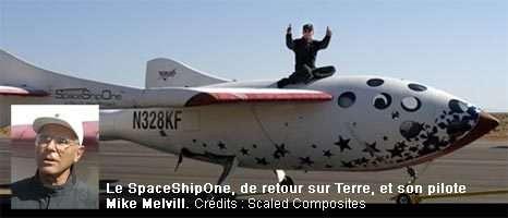 Le SpaceShipOne (gagant de l'Ansari X-prize) de retour sur Terre