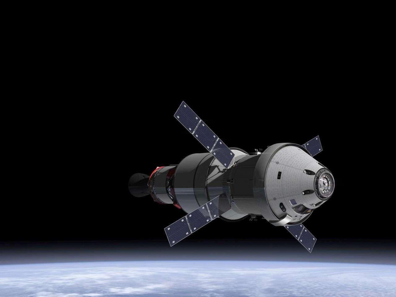 Orion, le véhicule d'exploration de la Nasa. Après un premier vol d'essai autour de la Terre, un second vol inhabité autour de la Lune est en préparation et sera réalisé en 2018. © Nasa