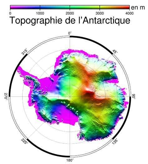 Topographie de l'Antarctique. Crédit : Institut polaire français