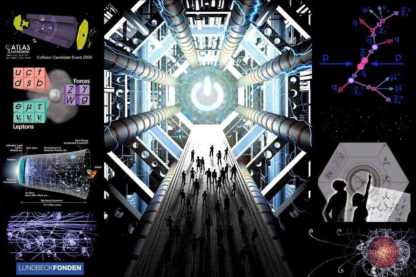 Physique des particules et cosmologie sont devenues inséparables depuis quelques dizaines d'années. C'est ainsi que l'on verra peut-être dans le détecteur Atlas, représenté par un dessin à droite, les particules de matière noire à l'origine des galaxies. © Lundbeck Foundation