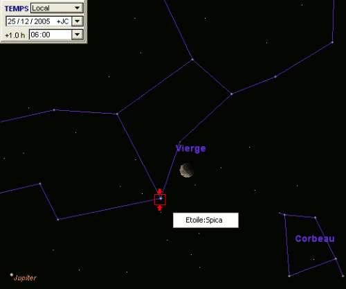 La Lune est en conjonction avec l'étoile Spica