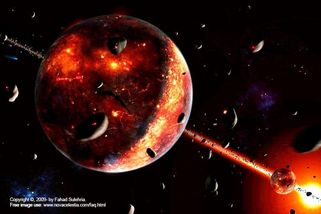 Vue d'artiste de la Terre après sa collision avec Théia. La jeune Lune est visible à droite. Les deux planètes subissaient encore un fort bombardement météoritique, ce qui explique la présence de zones couvertes de magma à leur surface. © Fahad Sulehria