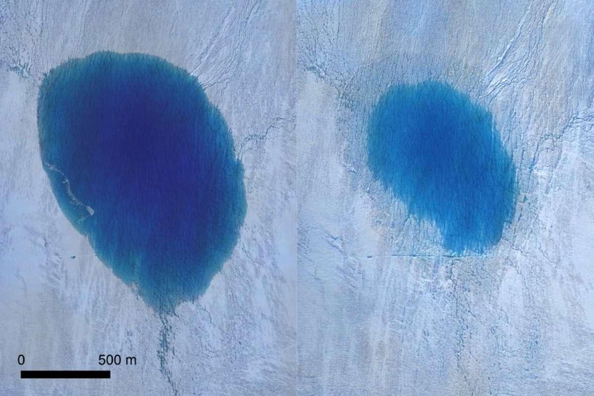 À gauche, le lac du glacier Store au moment où les scientifiques ont commencé leurs observations. À droite, cinq heures plus tard, le lac a perdu deux tiers de sa surface. © Tom Chudley